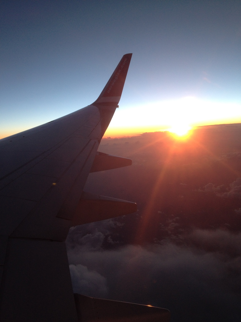 Sunsets when flying