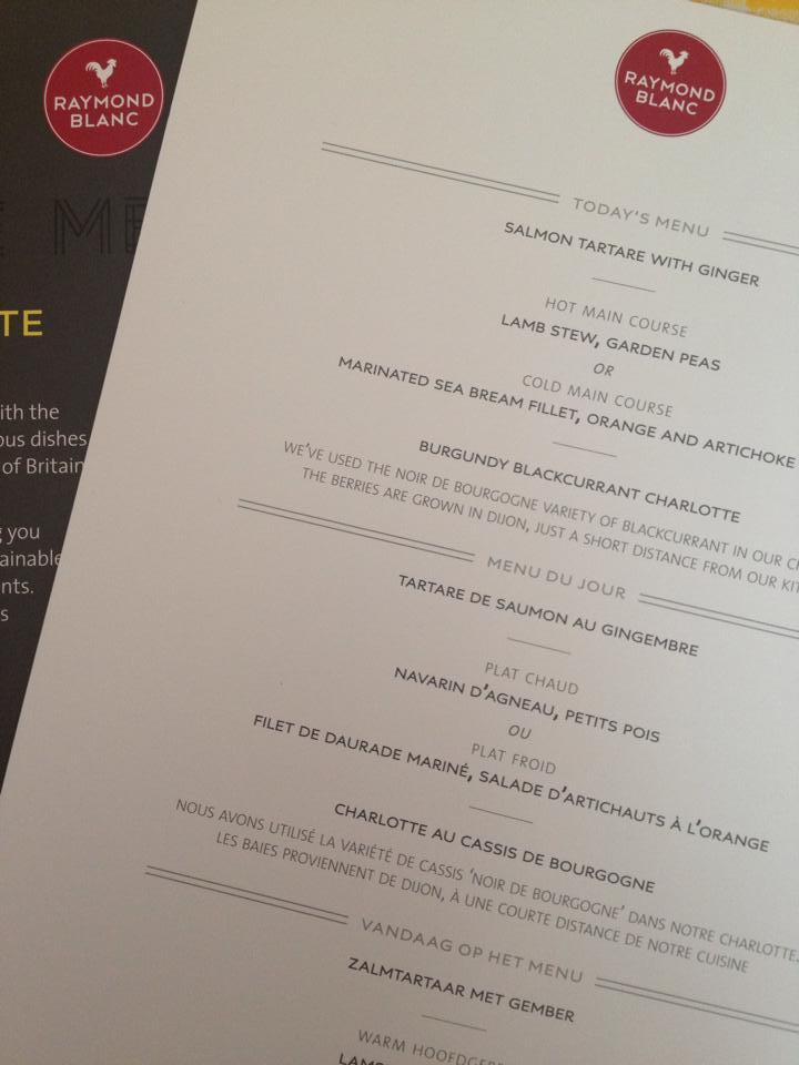 25th Wedding anniversary menu on eurostar